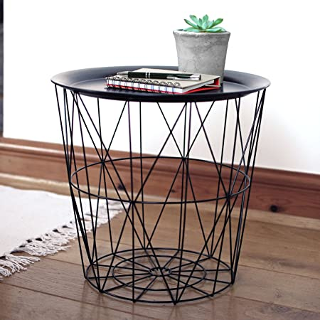 Black geometric iron metal wire round tray top storage side table black geometric iron metal wire round tray top storage side table basket greentooth Images