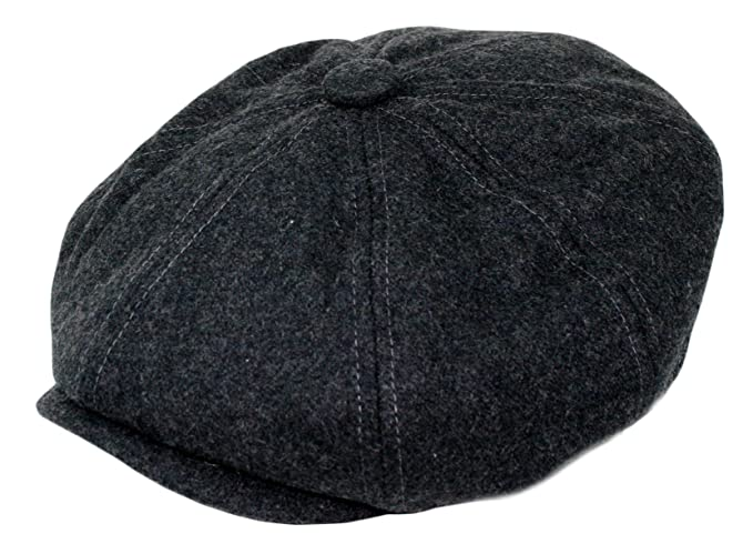 7142cd5cb Wonderful Fashion Men's Wool Blend Applejack Houndstooth Plaid IVY newsboy  Hat (Charcoal, One Size)