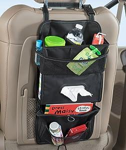 High Road TissuePockets Car Seat Organizer and Tissue Holder (Black)