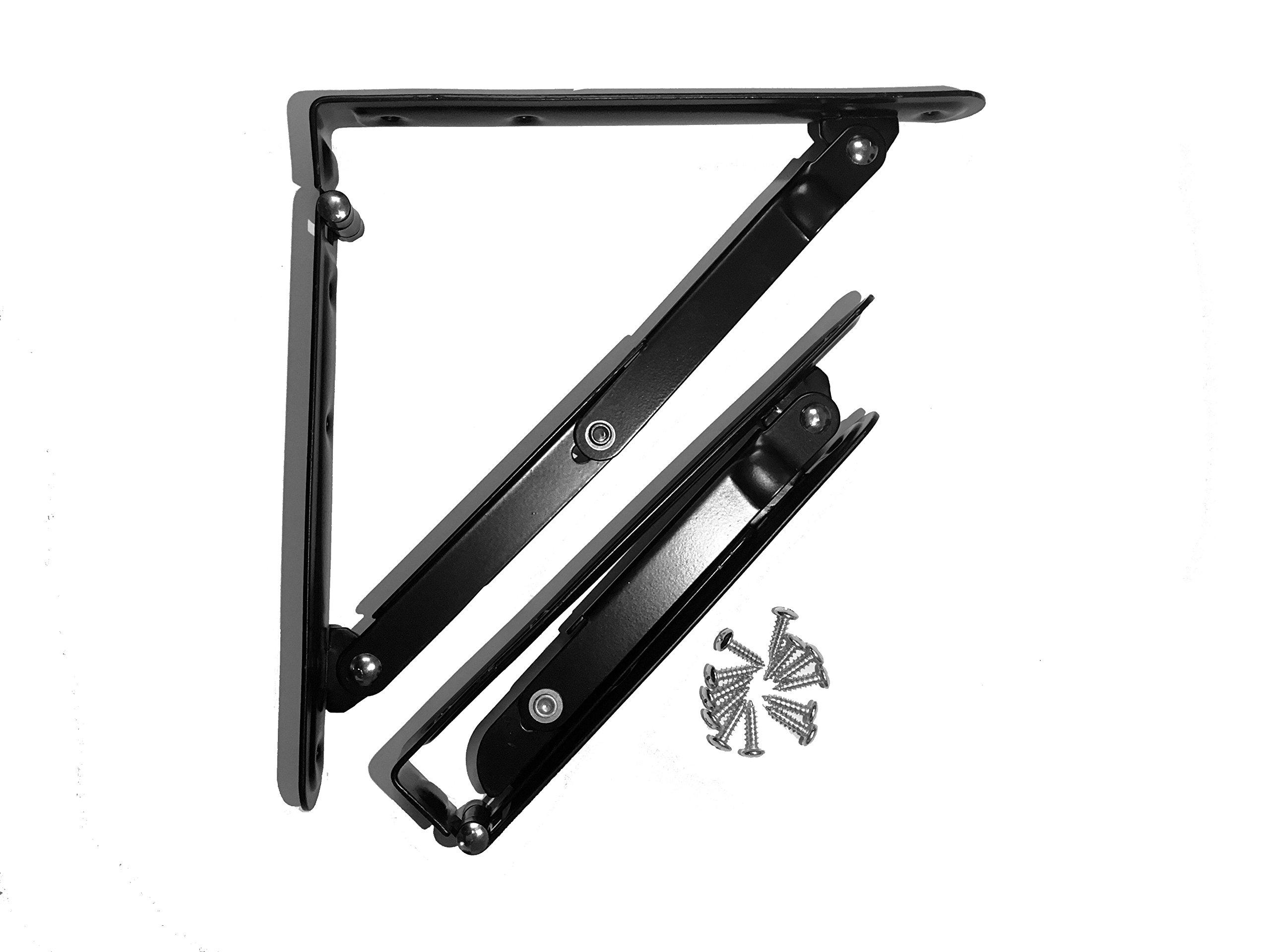 2 Pcs Folding Shelf Bracket Stainless Steel Folding Shelf Bench Table Perfect for Wall Hanging Shelves, Black