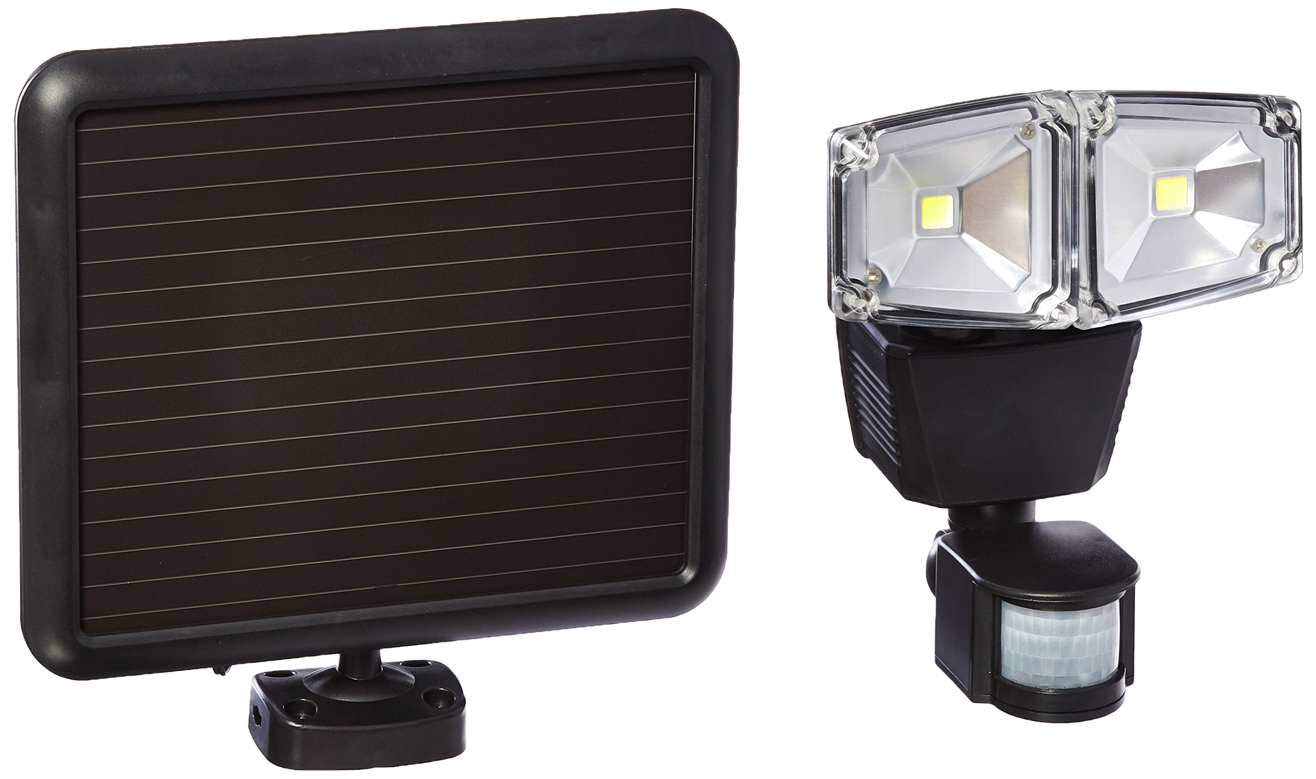 160-Degree Outdoor Black Dual Lamp Solar Motion Sensing Security Light with Advance LED Technology