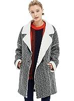 ME&CITY Women's Fashion Long Sleeve Lambwool Double Breasted Coat