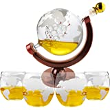 Luxury Decanters Whiskey Globe Decanter With 4 Glasses - Etched Gift Set - Beverage Drink Dispenser also for Brandy Tequila Bourbon Scotch Rum - Alcohol Related Gifts for Dad