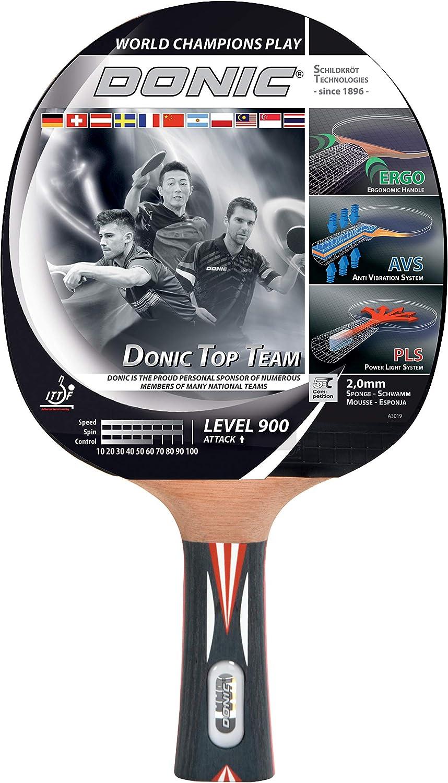 Donic-Schildkröt Raqueta de Tenis de Mesa Top Team 800, Mango AVS & PLS, Esponja de 2,0 mm, Almohadilla Alpha Slick-ITTF