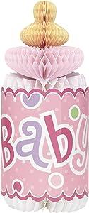 "12"" Bottle-Shaped Pink Polka Dot Girl Baby Shower Centerpiece Decoration"