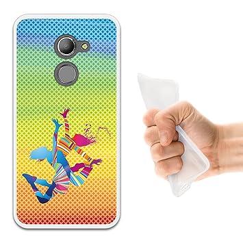 WoowCase Funda Vodafone Smart N8, [Vodafone Smart N8 ] Funda Silicona Gel Flexible Chicas Bailando con Manchas de Color Fondo, Carcasa Case TPU ...