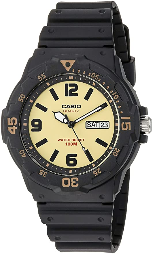 Casio Mens Classic Quartz Resin Casual Watch, Color:Black (Model: