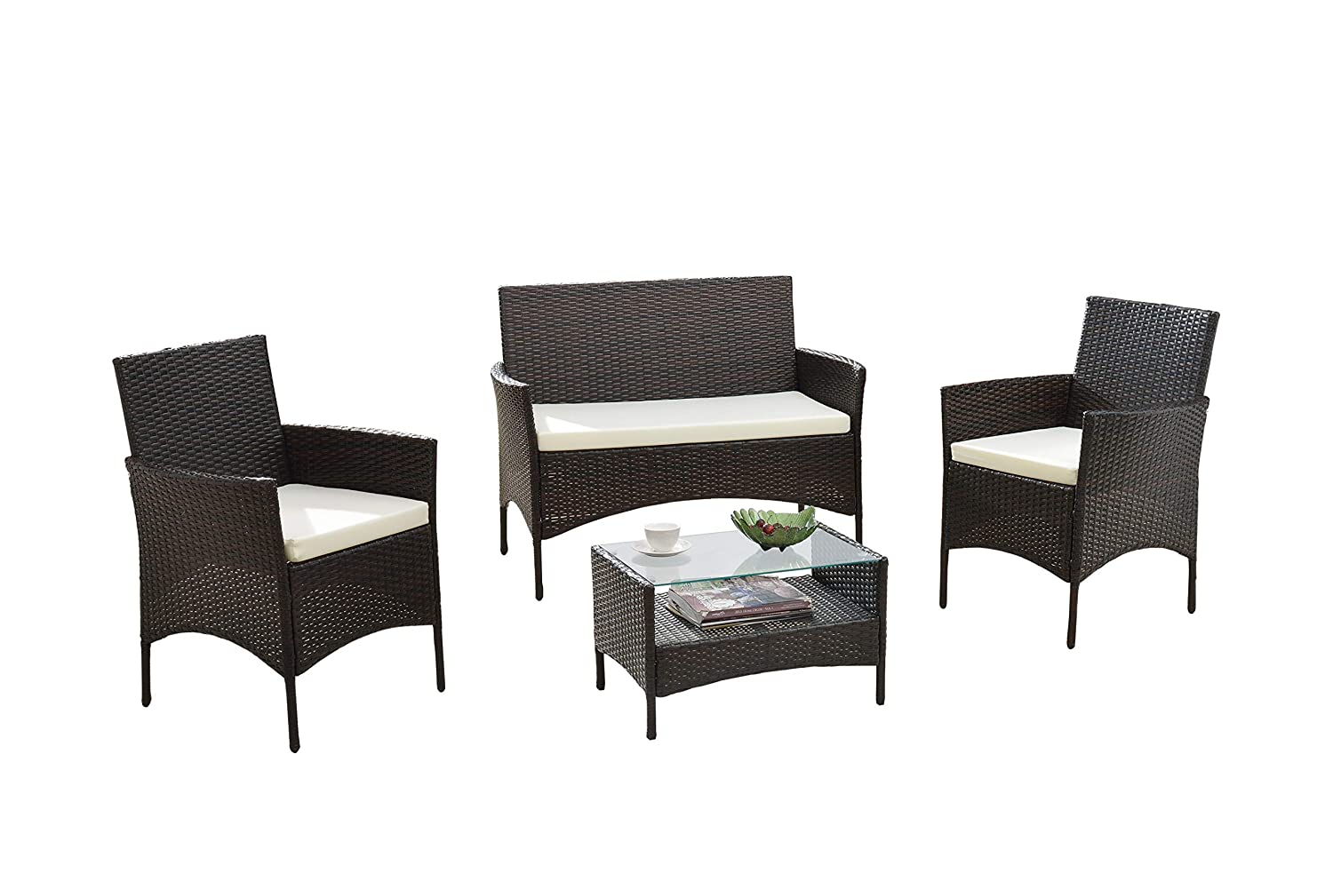 Modern Outdoor Garden, Patio 4 Piece Seat - Grey, Dark Espresso Wicker Sofa  Furniture Set (Grey)