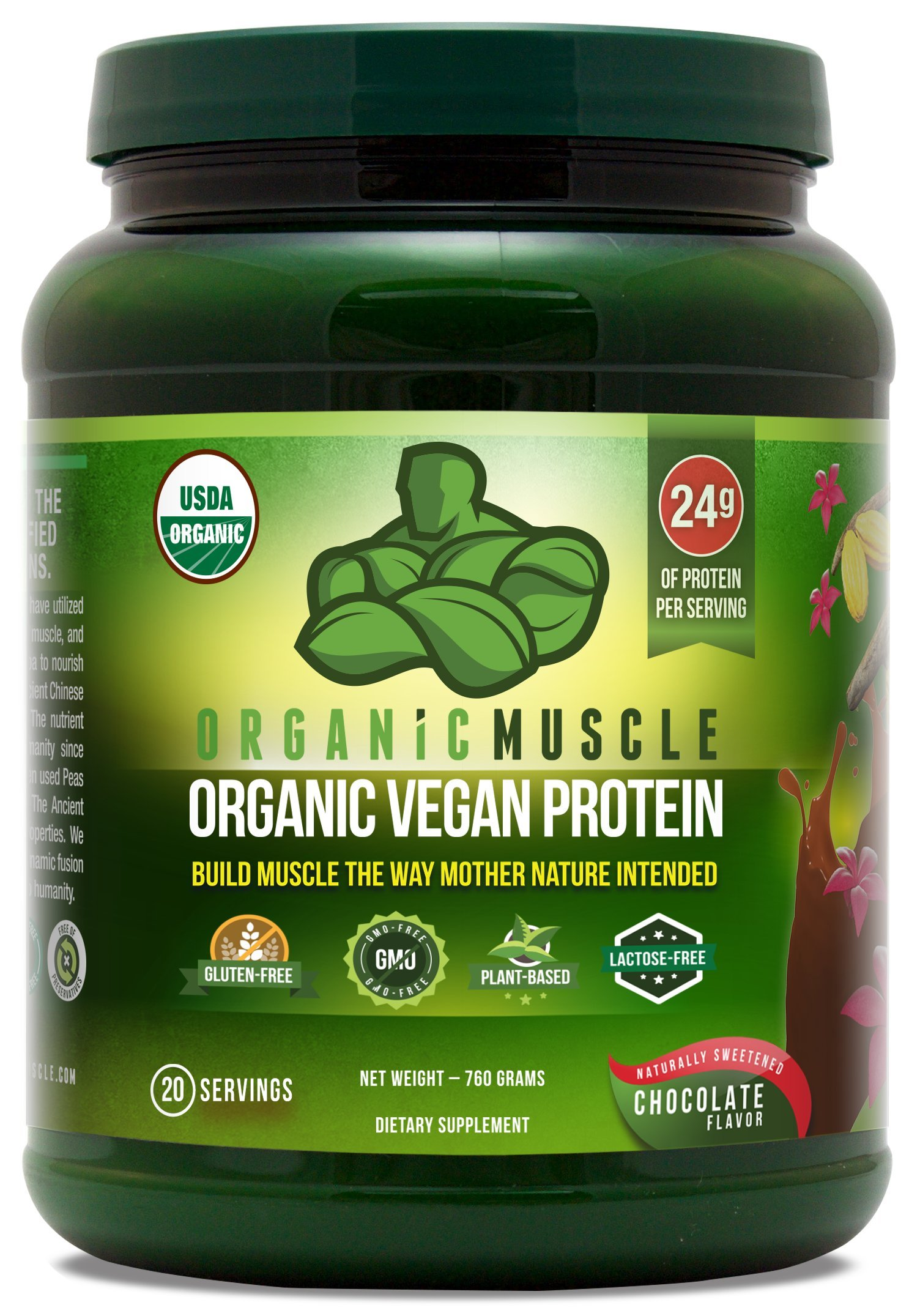 Organic Vegan Protein Powder - Great Tasting Chocolate Flavor W/ 24g of Protein -100% Organic Plant Based Protein Blend of Pea, Hemp, Rice Protein +Chia, Flax Seed, More -760g by Organic Muscle