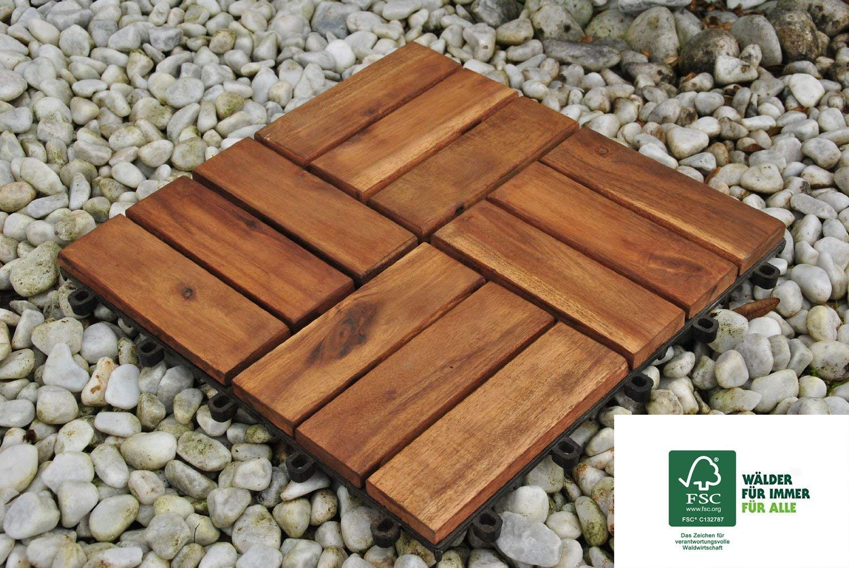 Drainage SAM Terrassenfliese 02 Akazienholz Bodenbelag 11er Spar-Set f/ür 1m/² Garten klick-Fliese FSC/®100/% 30x30 cm