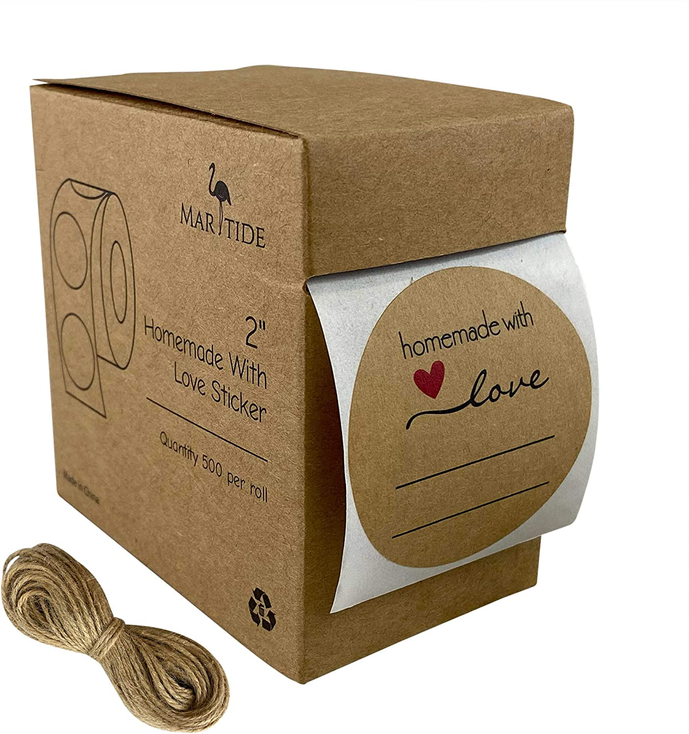 """2"""" Homemade with Love Canning Labels w/ Lines for Writing, 500 Stickers Per Roll in Dispenser Box + Bonus 50' of Twine String"""