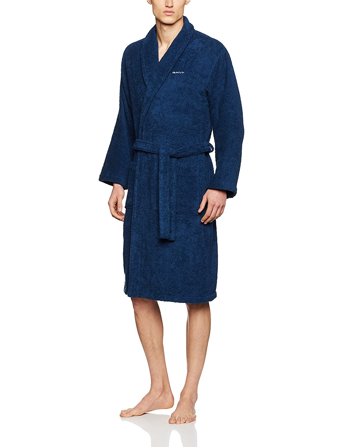 GANT Herren Bademantel Terry Robe, Blau, One size