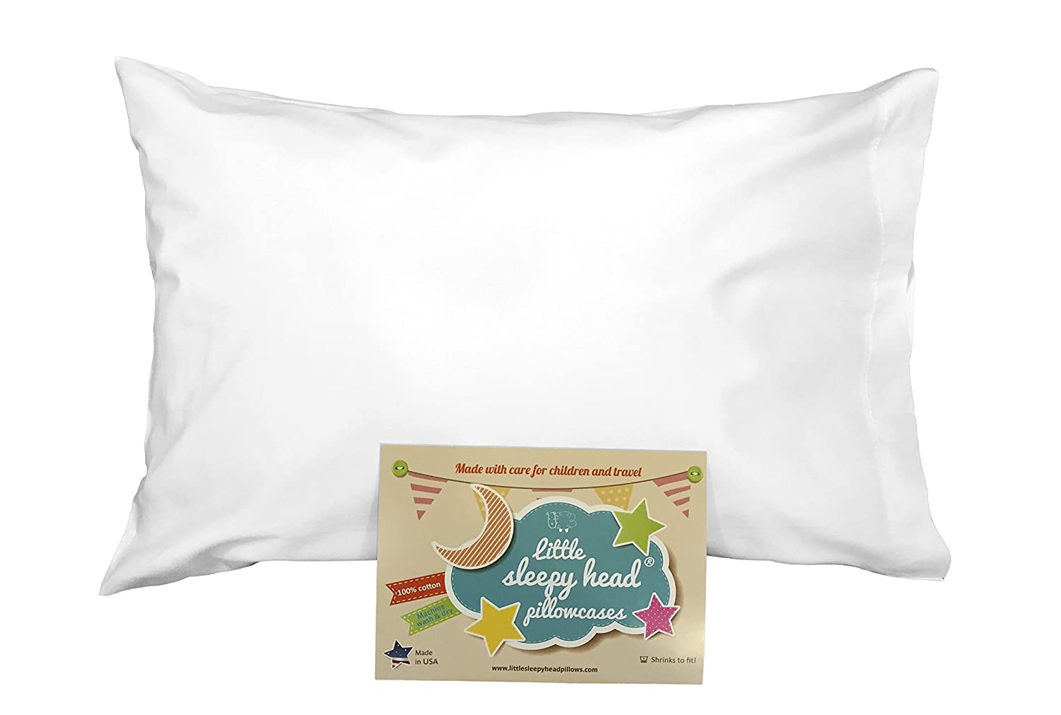 Made for Little Sleepy Head Toddler Pillow 13 X 18-100/% Cotton Naturally Hypoallergenic White Envelope Toddler Pillowcase Made in USA!