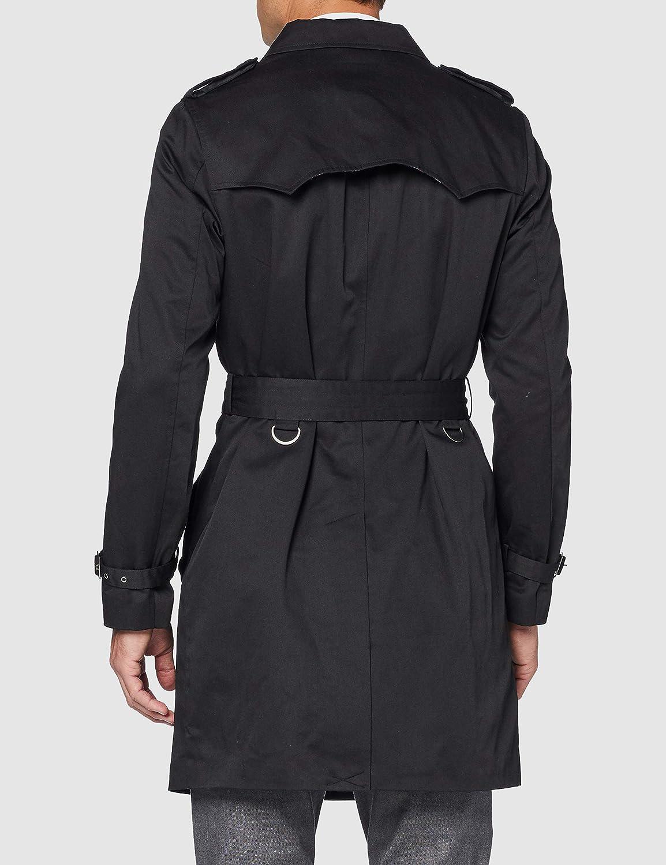 Herren Schwarz Einreiher Trenchcoat Baumwolle Military Rain Traditioneller Mac