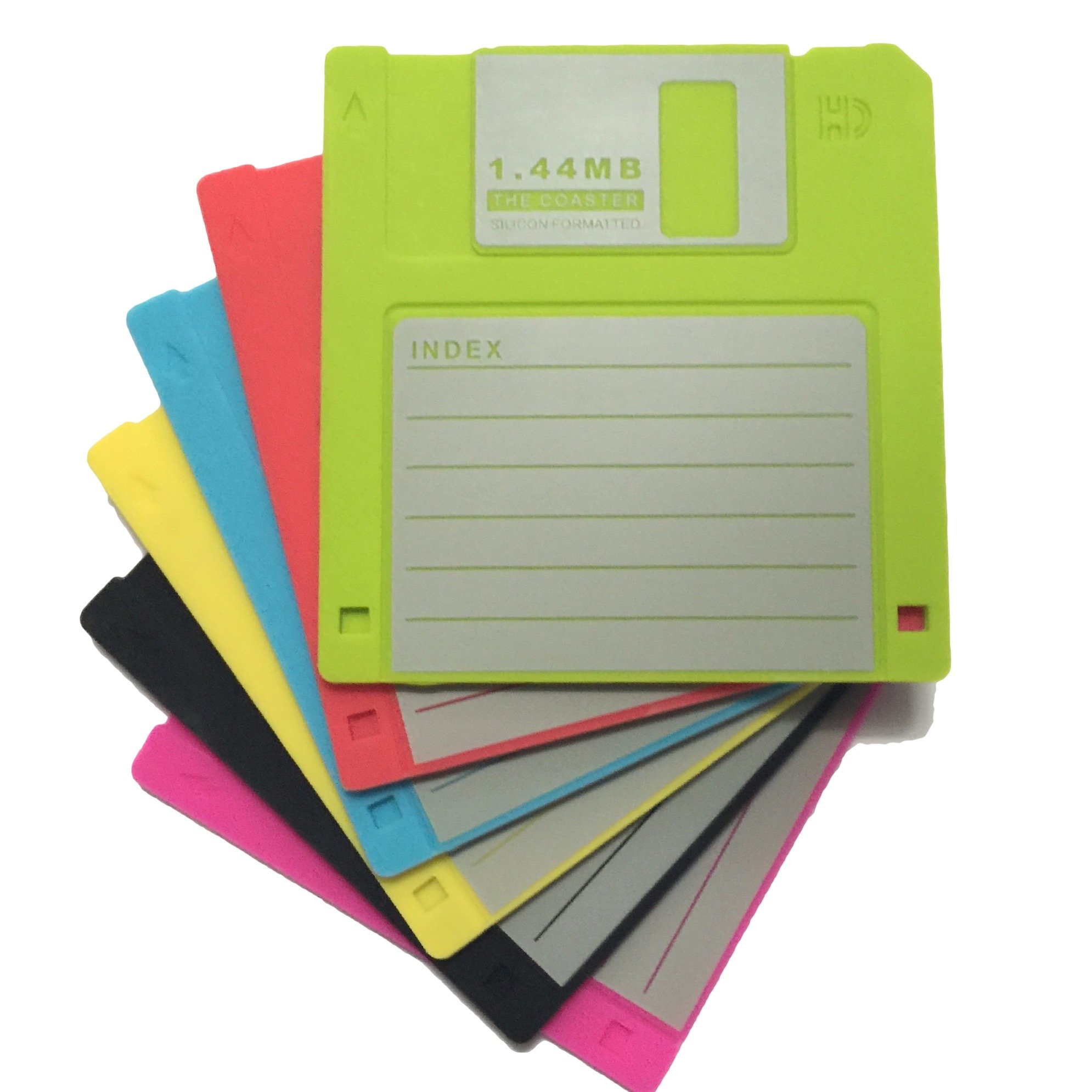 Set of 6 Blank Labled Retro Floppy Disk Silicone Drink Coaster 1.44m Diskette Novelty Design Non-slip