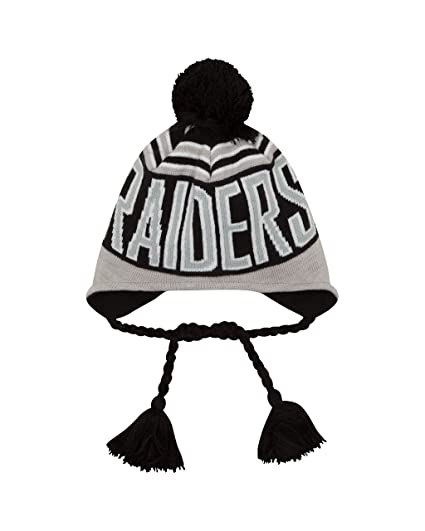 Amazon.com   NFL Oakland Raiders Wintry Worded Knit Peruvian Hat ... 6d67e530b