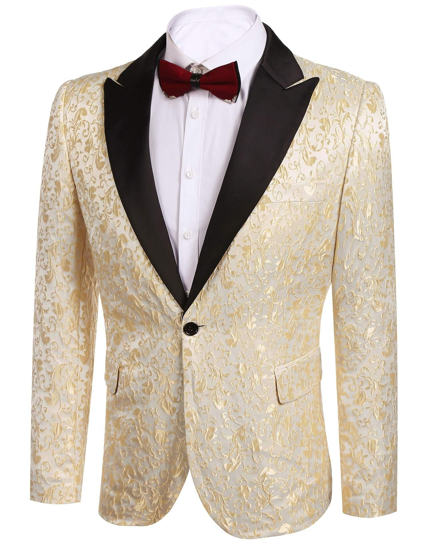 Donet Men's Floral Party Dress Suit Notched Lapel Stylish Dinner Jacket Wedding Blazer Prom Tuxedo Gold Large