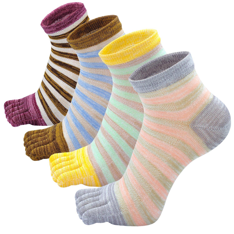 Zehensocken Damen Fünf Finger Socken aus Baumwolle, Damen Sneaker Socken mit Zehen für Sport, Laufende und Arbeit, 4 Paare PUQZW099-mixed color-4 pack