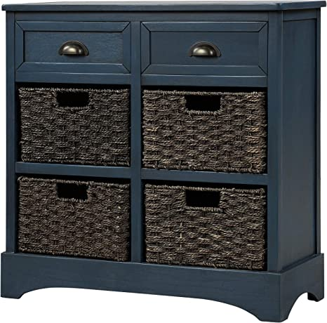 Amazon Com Knocbel Home Collection Wicker Storage Cabinet Solid Wood 4 Basket Chest With 2 Drawers For Kitchen Dining Room Entryway Living Room Fully Assembled 28 L X 11 8 W X 28 H Antique Navy Home Kitchen
