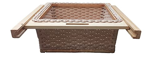 Peacock Wicker Basket, 600 mm (White and Brown) at amazon