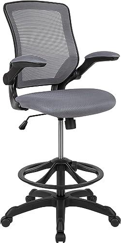Flash Furniture Mid-Back Dark Gray Mesh Ergonomic Drafting Chair
