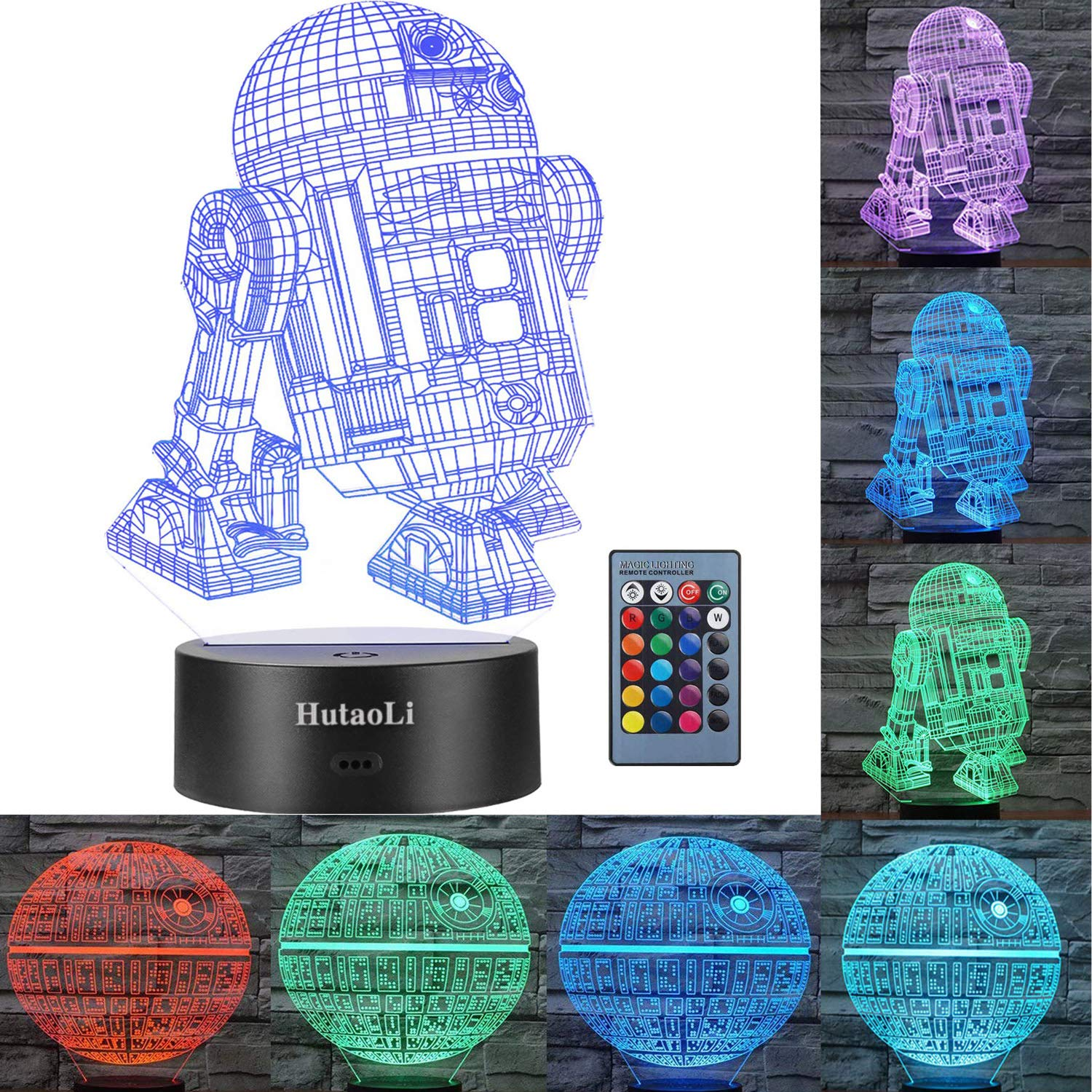 3D Star Wars Night Lights 2 Modes and 7 Color Variations Star Wars Decorative Lights -R2-D2 and Death Star The Best Gift for Children and Star Wars Fans (Dinosaur Night Light)