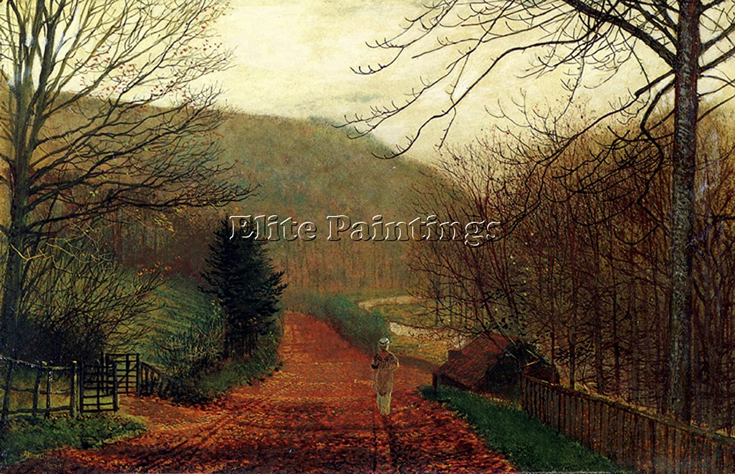 Classical oil painting John Atkinson Autumn landscape forest Hand painted