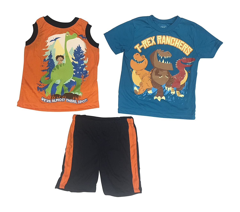 hot The Good Dinosaur Disney T-Rex Ranchers Toddler Boys' 3 Piece Muscle Tank, T-Shirt and Short Set Size 2T-4T get discount