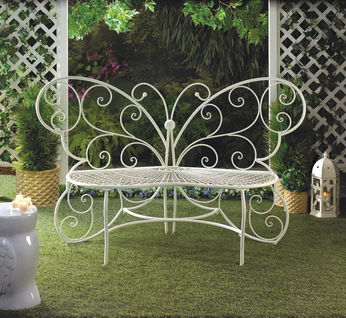 FA Decors Fancy Butterfly Metal Scroll Garden Patio Bench