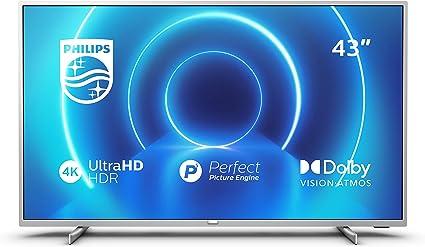 Televisor 4K UHD Philips 43PUS7555/12 de 108 cm (43 pulgadas) (4K UHD, P5 Perfect Picture Engine, Dolby Vision, Dolby Atmos, HDR 10+, Saphi Smart TV, HDMI, USB), Color plata (modelo de 2020/2021): Amazon.es: Electrónica