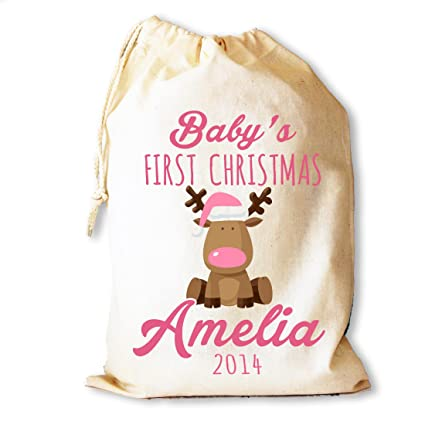 Personalised Baby First Christmas santa sack in pink cotton drawstring gift  bag stocking by Cinnamon Bay  Amazon.co.uk  Kitchen   Home 09b2816bb