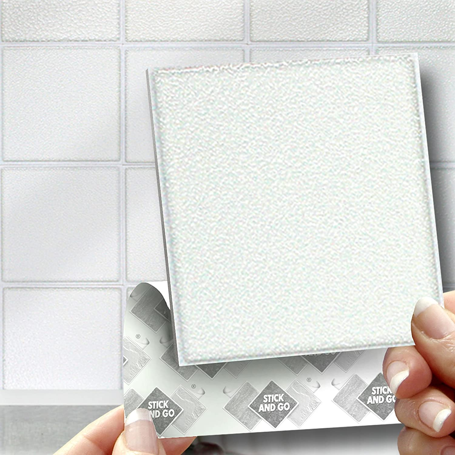 18 WHITE EFFECT WALL TILES   2mm Thick And Solid Self Adhesive Stick On Wall  Tile