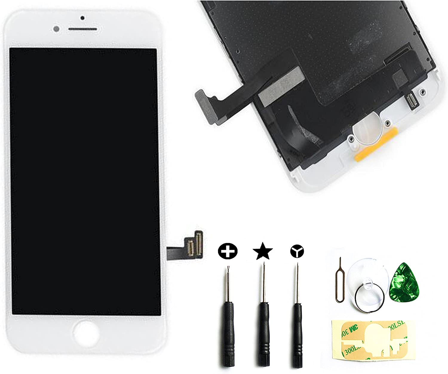 Front Glass LCD Screen Digitizer Assembly Frame Full Set Display Touchscreen Replacement Compatible with iPhone 7 4.7 Inch White