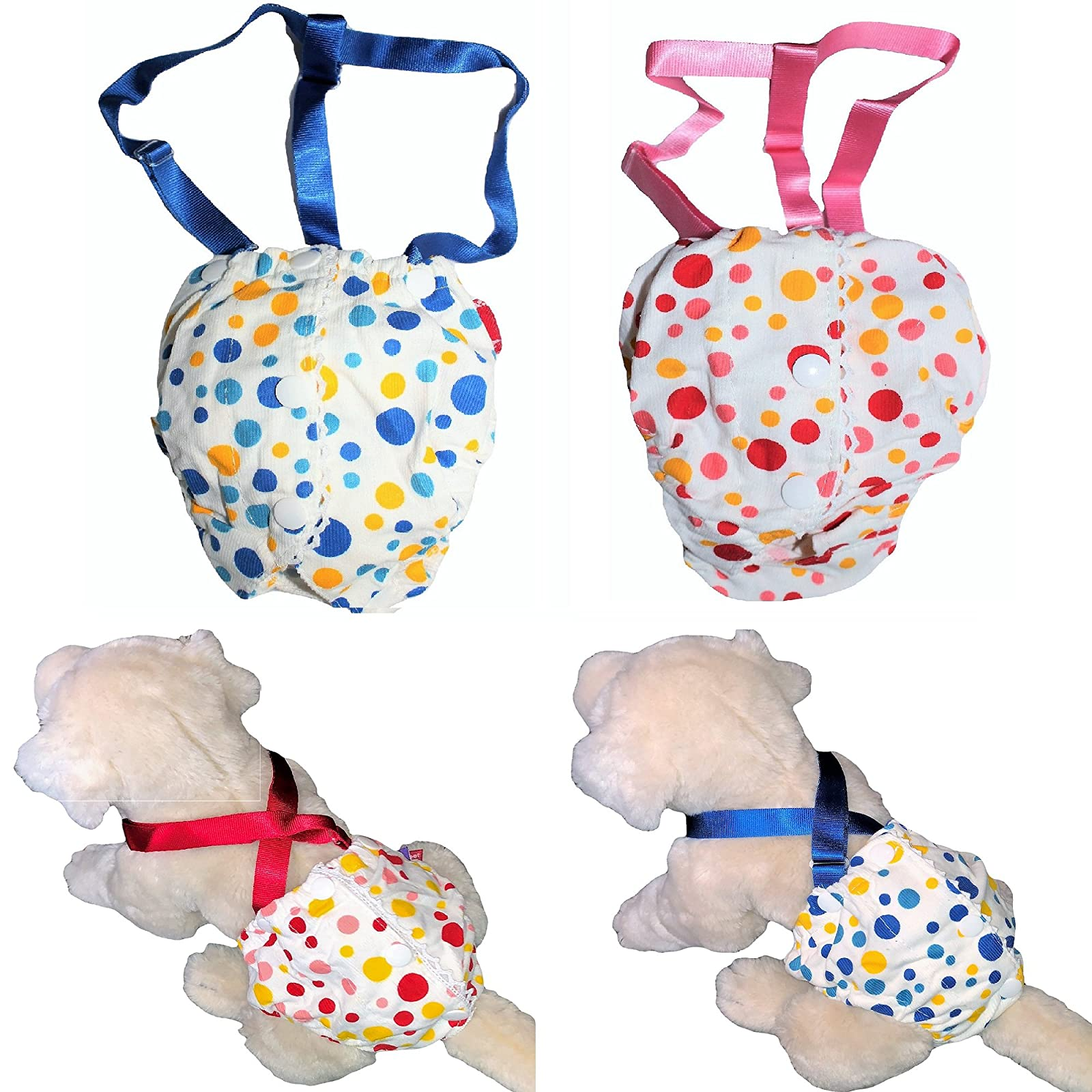 FunnyDogClothes Female Dog Diaper With Suspenders COTTON - 5