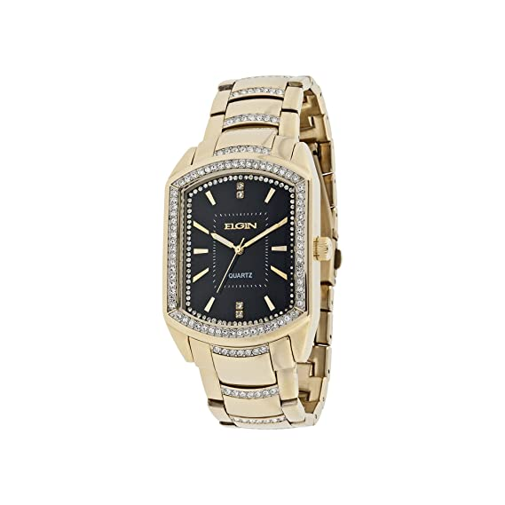 Elgin – tono dorado & crystal-accent rectangular reloj fg8079