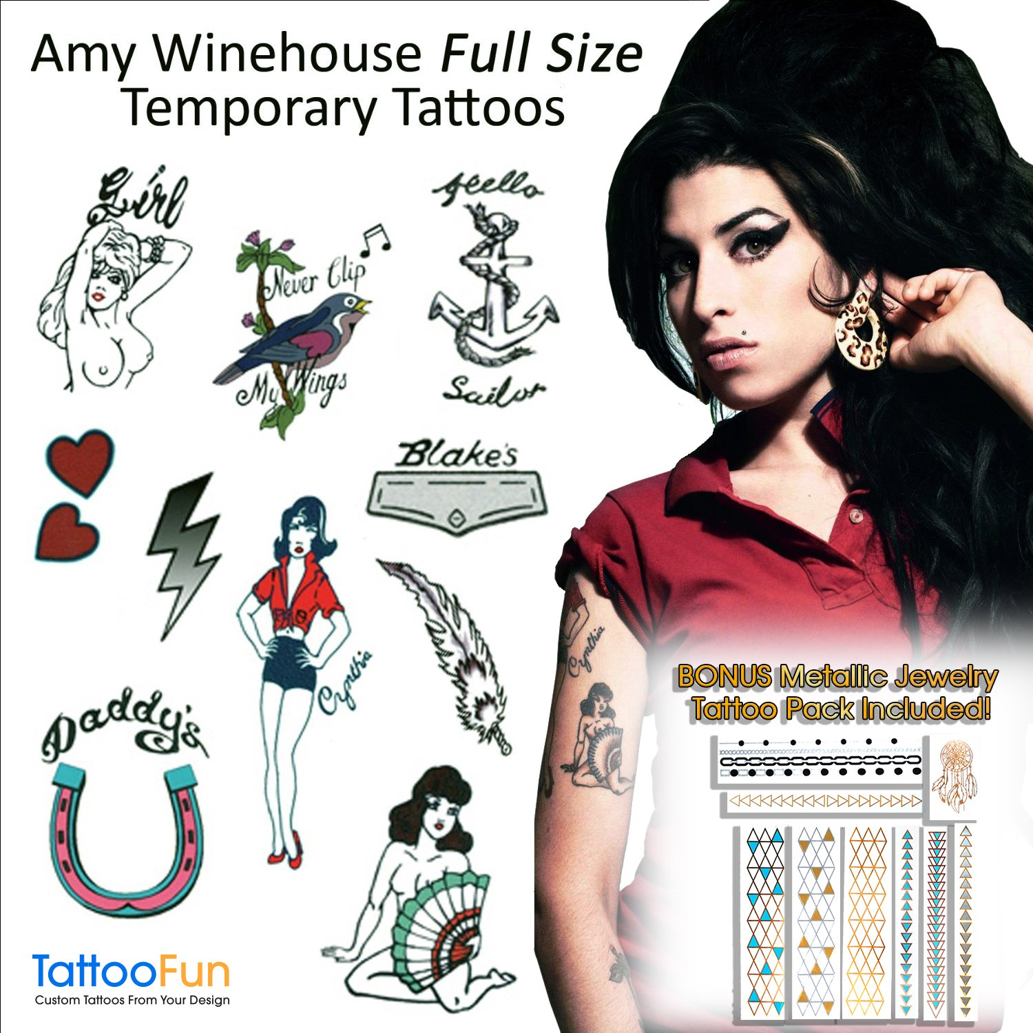Amy Winehouse Temporary Tattoos and Wig Halloween Costume by TattooFun