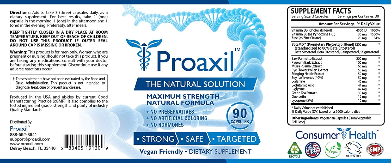 Proaxil – 1 Choice for Prostate Health – 1 Bottle – Improve Overall Prostate Health, Urine Flow and Sexual Performance. With Zinc, Saw Palmetto and Beta Sitosterol