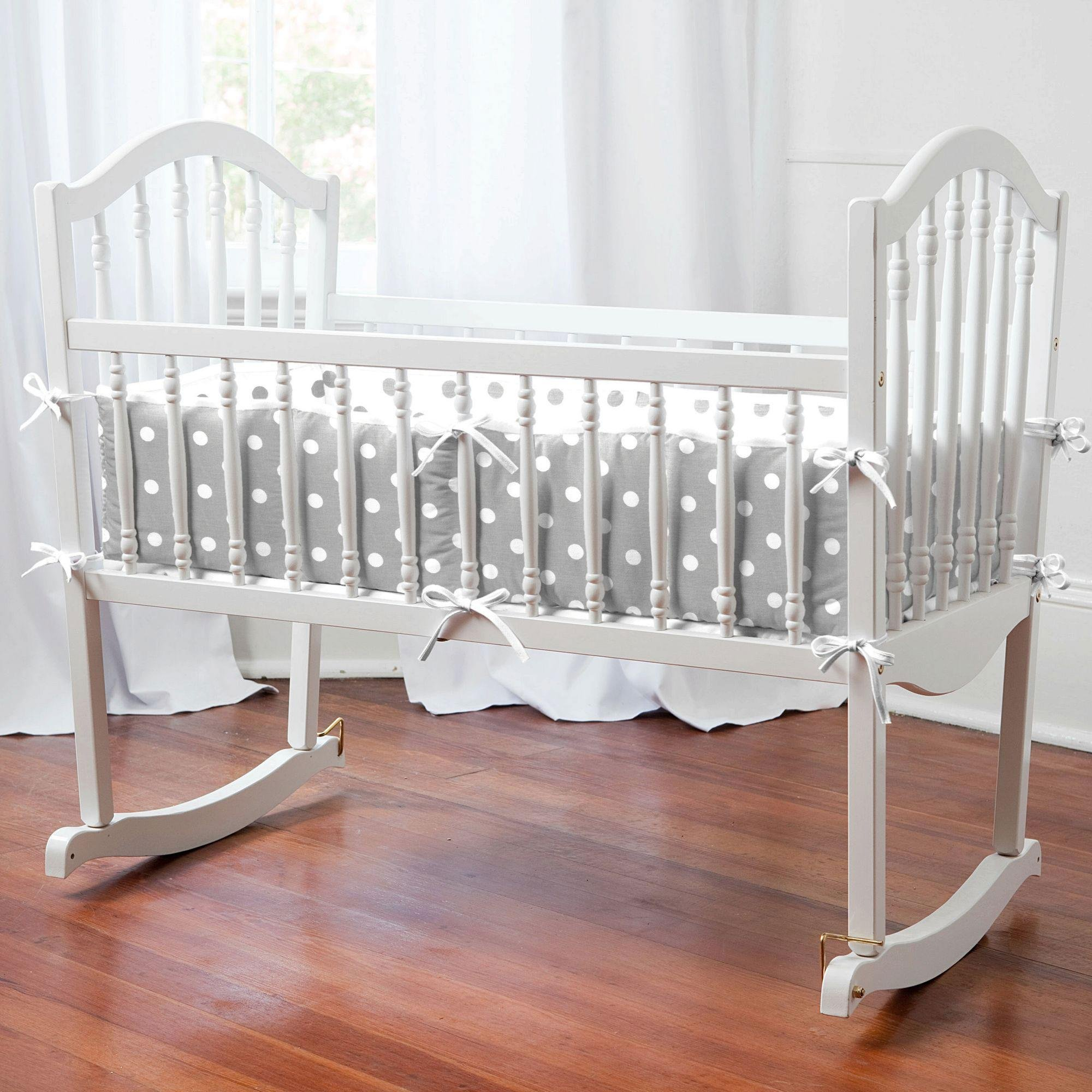 Carousel Designs Gray and White Dots and Stripes Cradle Bumper