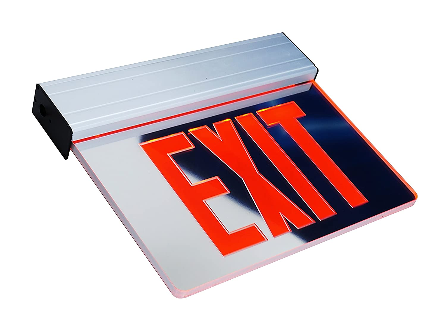 Nicor Lighting Edge Lit Led Emergency Exit Sign Mirrored With Red Wiring Diagram Lettering Exl2 10unv Al Mr R 2