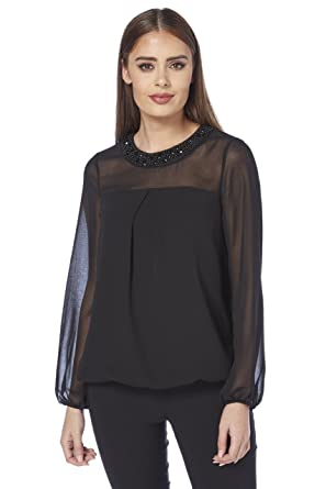 5d21f3900af32 Roman Originals Women s Black Embellished Round Neck Collar Chiffon Sleeve  Top Sizes 10-20 - Ladies Fashion Bubble Hem Mesh Long Sleeved Sparkle  Partywear ...