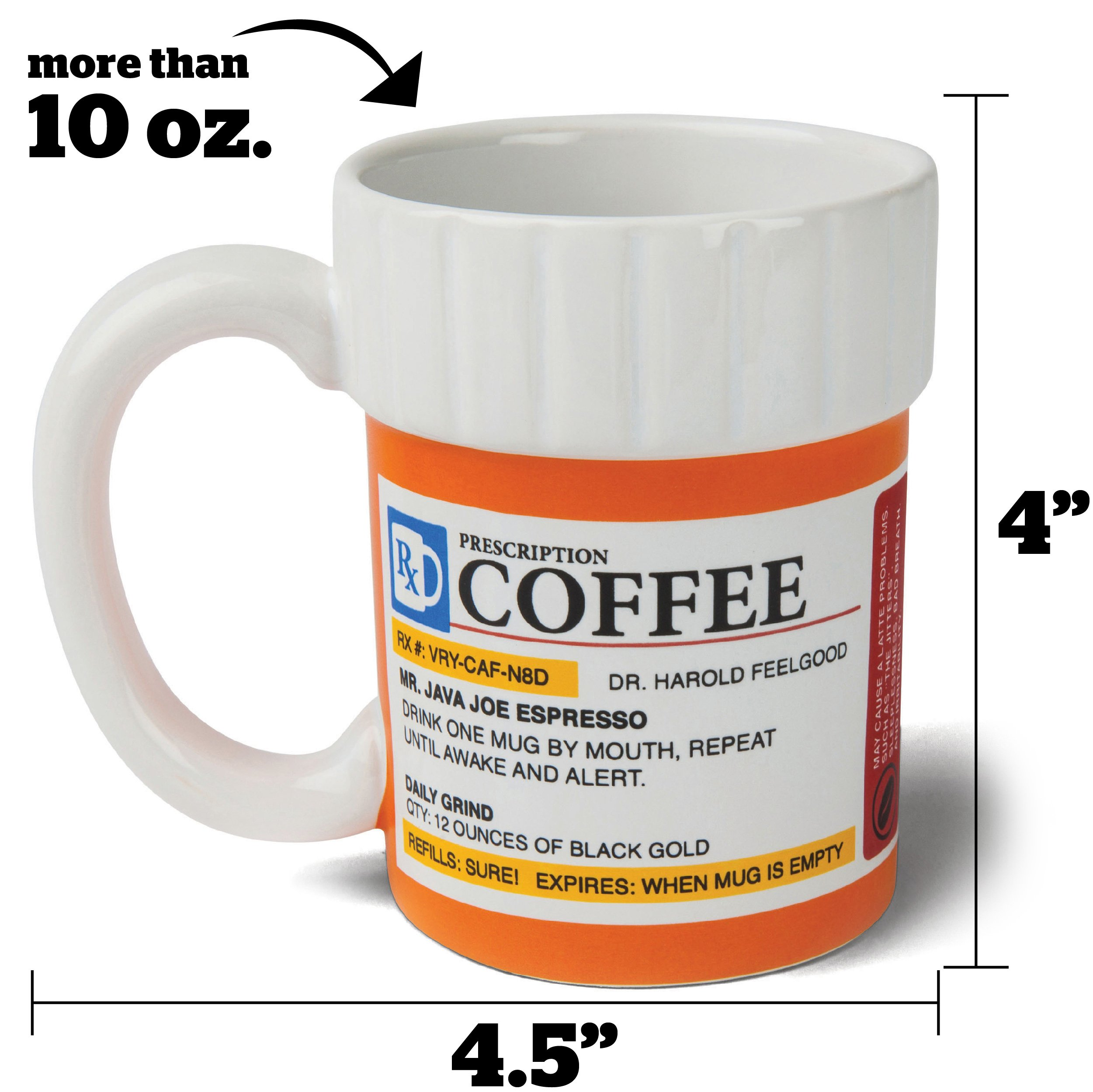 BigMouth Inc. The Prescription Coffee Mug - Hilarious 12 oz Ceramic Coffee Cup in the Shape of a Pill Bottle - Perfect for Home or Office, Makes a Great Gift by BigMouth Inc
