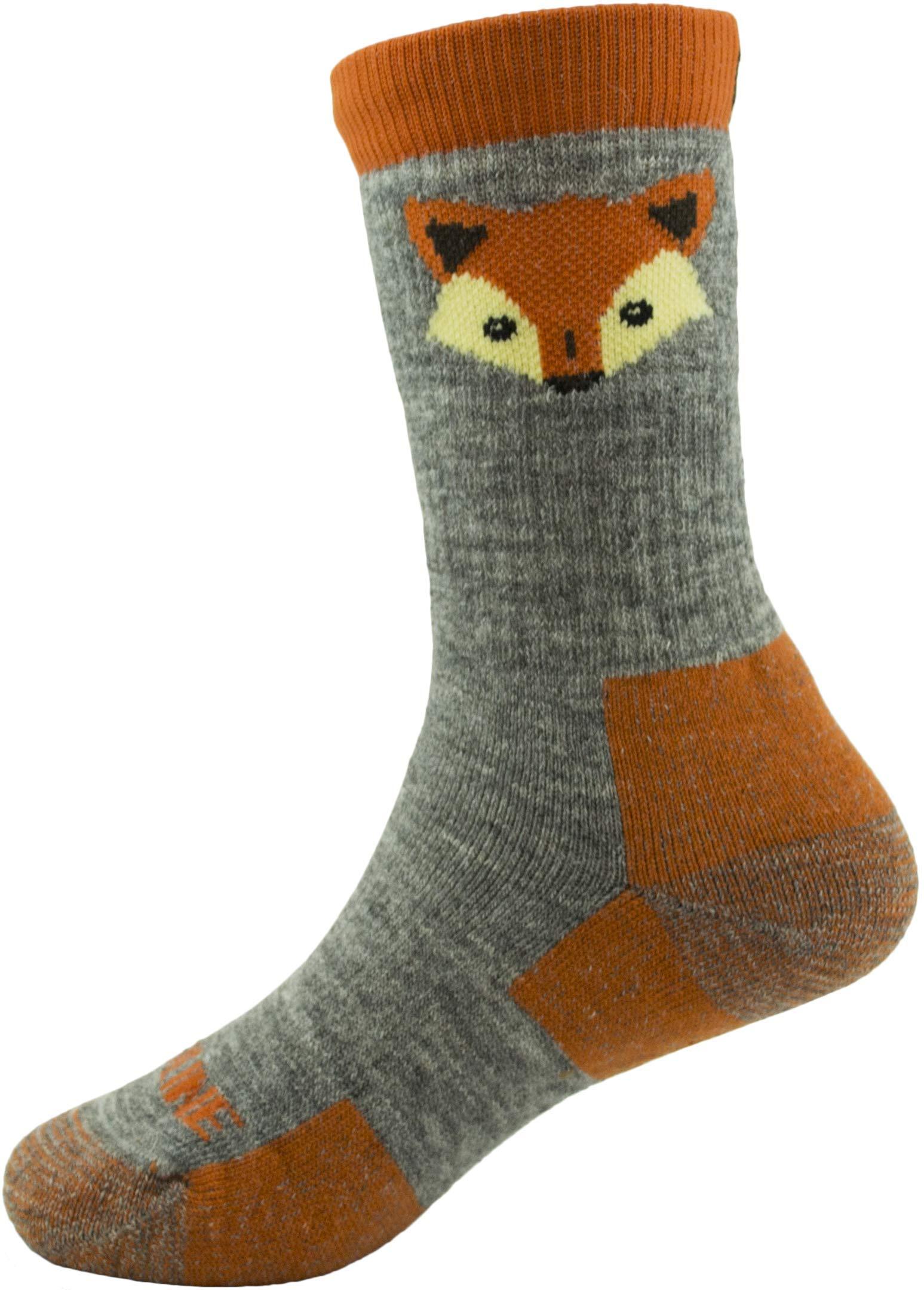 CloudLine Merino Wool Kid's Spirit Animal Socks - 2 Pack - Orange Fox - Size Y-XS - Made in USA
