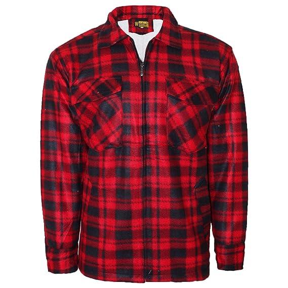 New Mens Fleece Padded Lumberjack Shirt Jacket Fur Lined Sherpa