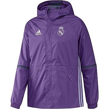 adidas Real Madrid CF Allw Chaqueta, Hombre, Morado/Blanco, L: Amazon.es: Deportes y aire libre