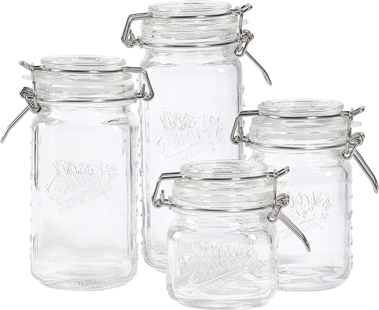 Mason Craft & More Airtight Kitchen Food Storage Clear Glass Clamp Jars, 4 Piece Mini Clamp Preserving Jar Set (7oz, 12oz, 17oz, and 22oz)