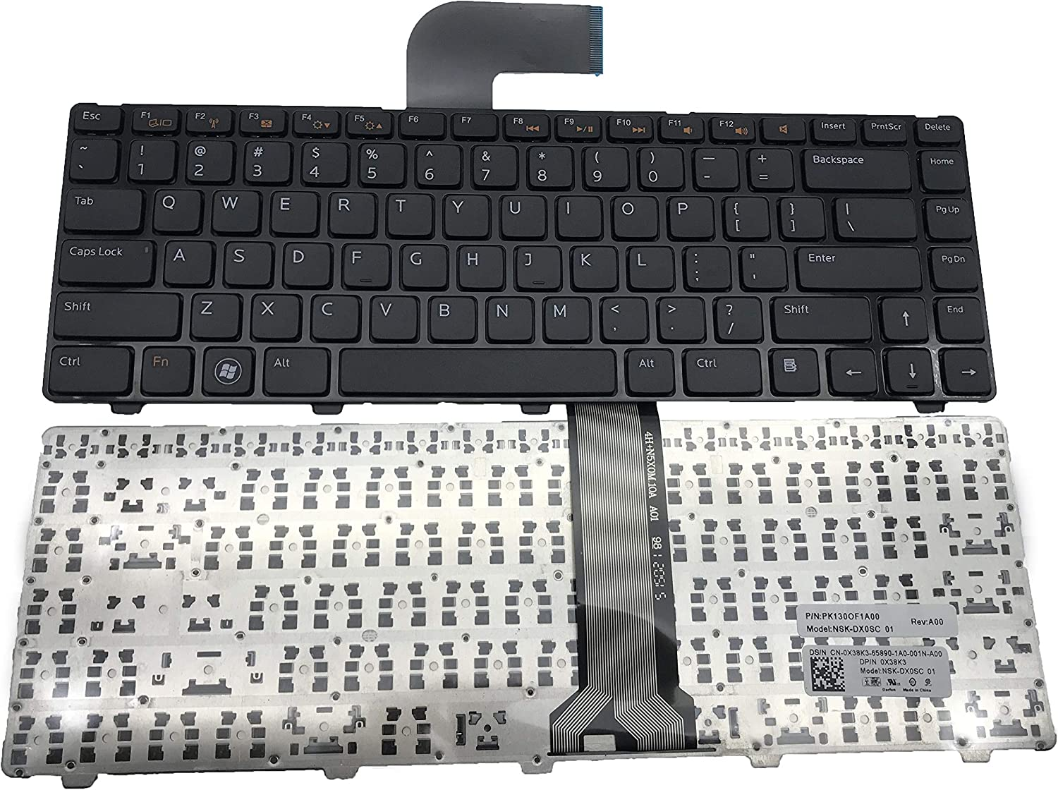 New Keyboard for Dell Inspiron M4110 N4050 M4040 M5040 M5050 N5040 N5050 N4410 M411R / Vostro 3350 3450 3550 V3350 V3450 V3550 / XPS L502X US PK130OF5B00 SG-49950-XUA 13072702539 Black Frame N4110