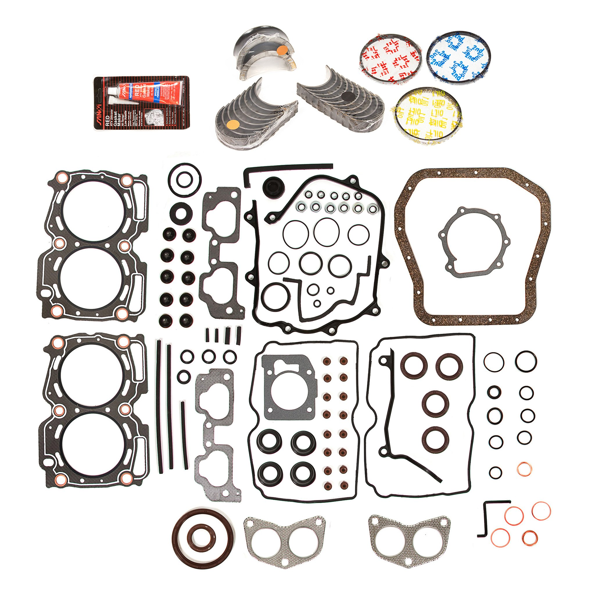 Evergreen Engine Rering Kit FSBRR9009EVE 99-03 Subaru Impreza Forester 2.5 SOHC EJ25 Full Gasket Set, 0.25mm / 0.010'' Oversize Main Rod Bearings, 0.50mm / 0.020'' Oversize Piston Rings by Evergreen Parts And Components