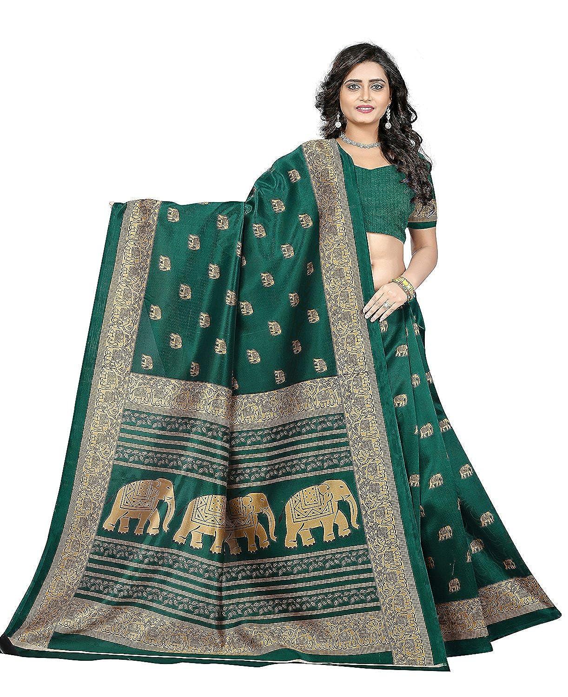 Designer Women's Green Silk Embroidered Wedding Party Wear Indian Ethnic Saree