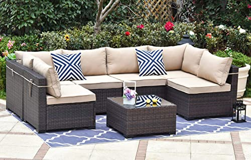 Gotland Outdoor Patio Furniture Set 7 Pieces Sectional Rattan Sofa Set Manual Wicker Patio Conversation Set