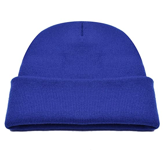 cd359fd0167 PZLE Blue Beanie Caps Knit Beanie Winter Caps for Men Up-cuff Hat ...